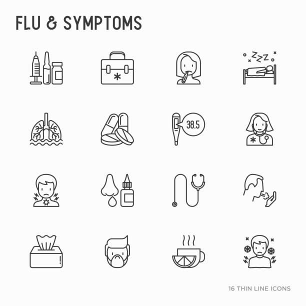 ilustraciones, imágenes clip art, dibujos animados e iconos de stock de gripe y síntomas delgados línea set de iconos: temperatura, calor, escalofríos, rinorrea, médico con estetoscopio, gotas nasales, tos, flema en los pulmones. ilustración de vector moderno. - flu