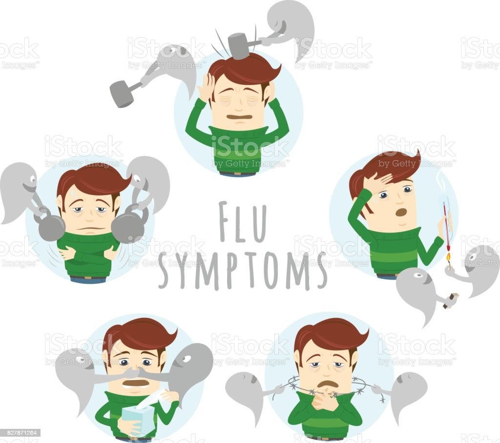 Flu Common Cold Symptoms Of Influenza Man Suffers Cold Fever Stock Illustration Download Image Now Istock