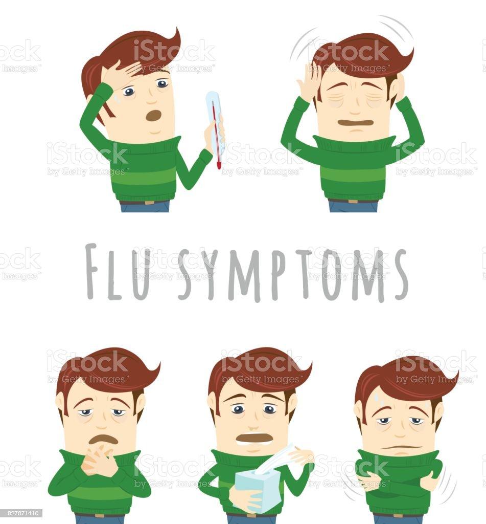 Ilustración de Síntomas De Resfriado Común Gripe De La Influenza El ...