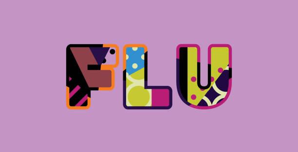 konzeptkunst wort grippe illustration - grippeimpfung stock-grafiken, -clipart, -cartoons und -symbole