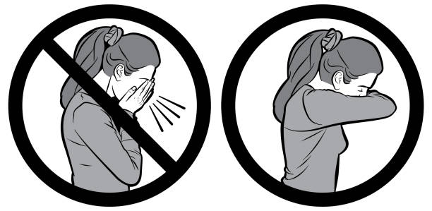bildbanksillustrationer, clip art samt tecknat material och ikoner med influensa hosta vector tecken - sneezing