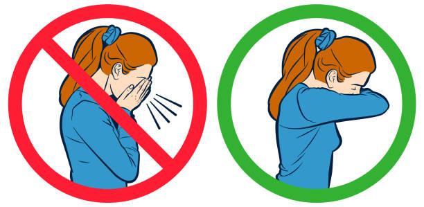 illustrazioni stock, clip art, cartoni animati e icone di tendenza di flu cough vector sign - solo una donna giovane