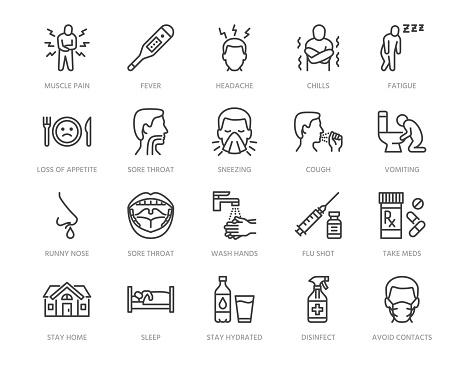 Flu disease prevention, cold symptoms flat line icons set. Fever headache sneeze, sore throat vector illustrations. Outline signs medical healthcare infographic. Pixel perfect 64x64. Editable Strokes