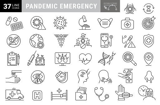 Flu disease prevention, cold symptoms flat line icons set. Fever headache sneeze, sore throat vector illustrations. Outline signs medical healthcare infographic. Editable Strokes