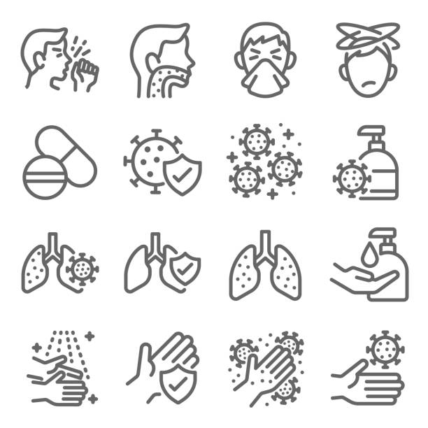Flu disease prevention icon set vector illustration. Contains such icon as clean, cold symptoms, mask, hand washing, sore throat and more. Expanded Stroke Flu disease prevention icon set vector illustration. Contains such icon as clean, cold symptoms, mask, hand washing, sore throat and more. Expanded Stroke sore throat stock illustrations