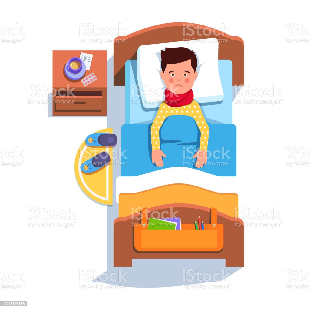 Flu fever ill patient boy lying in hospital bed feeling unwell flu fever ill patient boy lying in hospital bed feeling unwell recovering from sore throat thecheapjerseys Choice Image