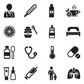 Flu Icons. Black Flat Design. Vector Illustration.
