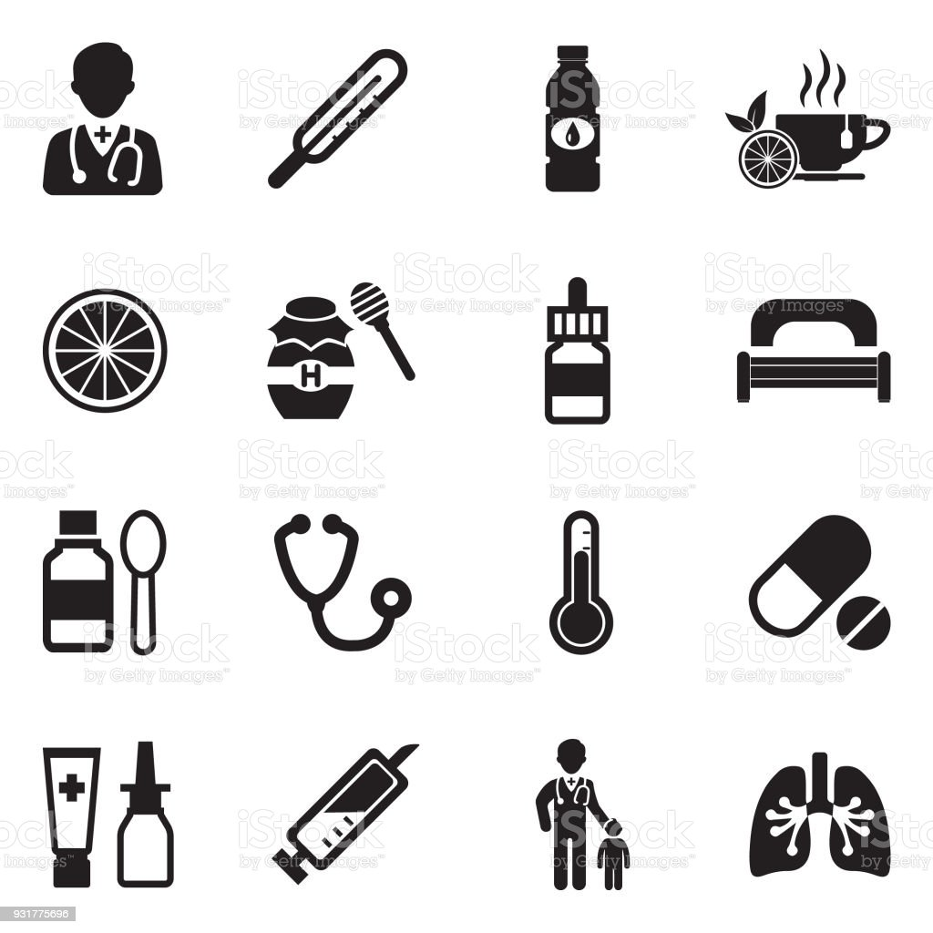 Flu Icons. Black Flat Design. Vector Illustration. vector art illustration