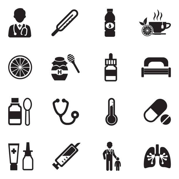 ilustrações, clipart, desenhos animados e ícones de ícones de gripe. projeto liso preto. ilustração em vetor. - pediatra