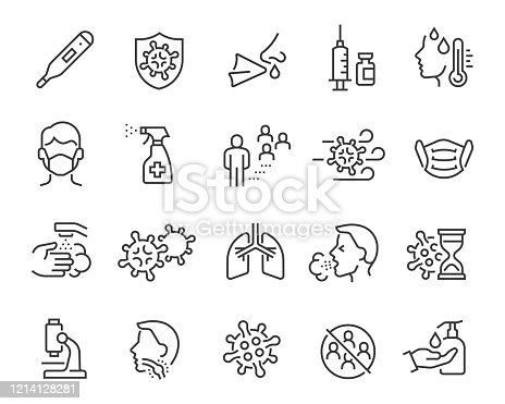 Flu icons set. Collection of linear simple web icons such as medical mask, flu virus, symptoms, treatment, prevention, antiseptic, coronavirus infection and other. Editable vector stroke.