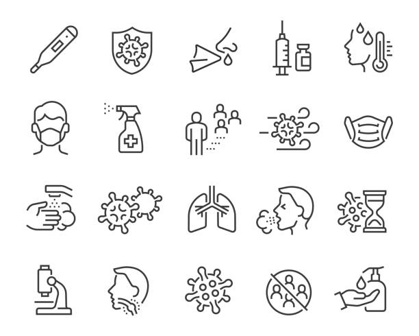 Flu icons set, medical mask, flu virus, symptoms, treatment, prevention, antiseptic, coronavirus infection and other Flu icons set. Collection of linear simple web icons such as medical mask, flu virus, symptoms, treatment, prevention, antiseptic, coronavirus infection and other. Editable vector stroke. covid icon stock illustrations