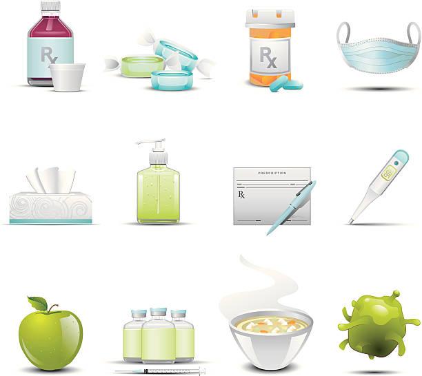illustrations, cliparts, dessins animés et icônes de icônes de la grippe - pastille