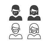 istock Flu Mask - Illustration Icons 1262632530