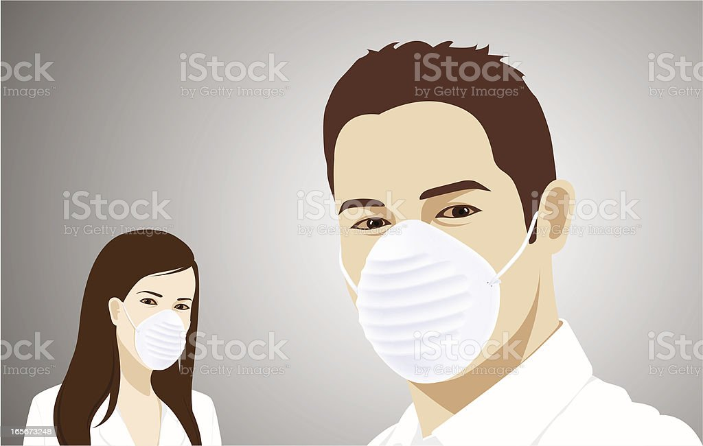 Flu Masked royalty-free stock vector art