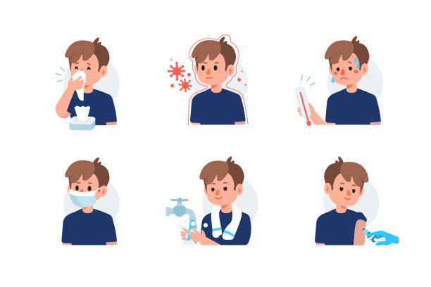 ilustraciones, imágenes clip art, dibujos animados e iconos de stock de prevención de la gripe - flu