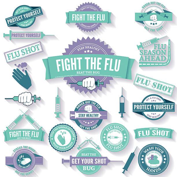 und grippe von hand waschen abzeichen und briefmarken - grippeimpfung stock-grafiken, -clipart, -cartoons und -symbole