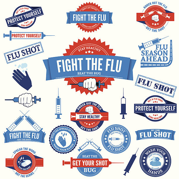 Flu Shot and Hand Washing Badges and Stamps Flu Shot and Hand Washing Badges and Stamps pneumonia stock illustrations