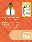 Flu Shot Clinic Flyer Template. Flat design style colors on an abstract background.