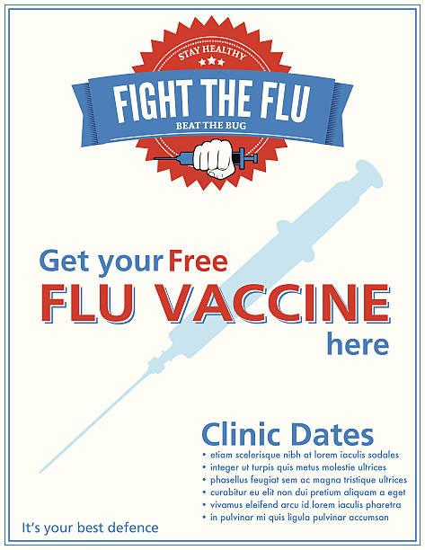 grippe aufnahme clinic poster-vorlage - grippeimpfung stock-grafiken, -clipart, -cartoons und -symbole