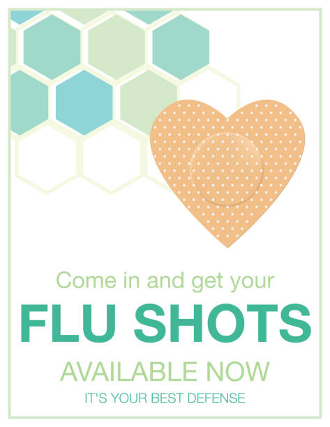 Flu Shot Clinic Poster Flu Shot Clinic Flyer Template. Flat design style colors and hexagon backgorund. flu vaccine stock illustrations