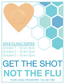 Flu Shot Clinic Flyer Template. Flat design style colors and hexagon backgorund.