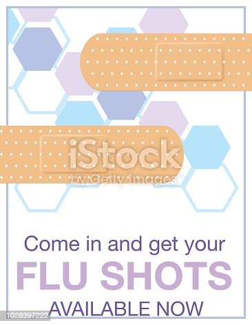 Flu Shot Clinic Flyer Template. Flat design style colors and hexagon backgorund.