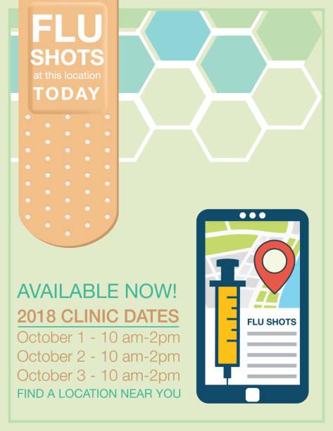 grippe aufnahme clinic poster - grippeimpfung stock-grafiken, -clipart, -cartoons und -symbole