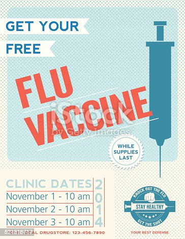 Flu Shot Clinic Poster. There is a syringe at right with room for your dates at the left. There is a badge with a fist at the bottom.