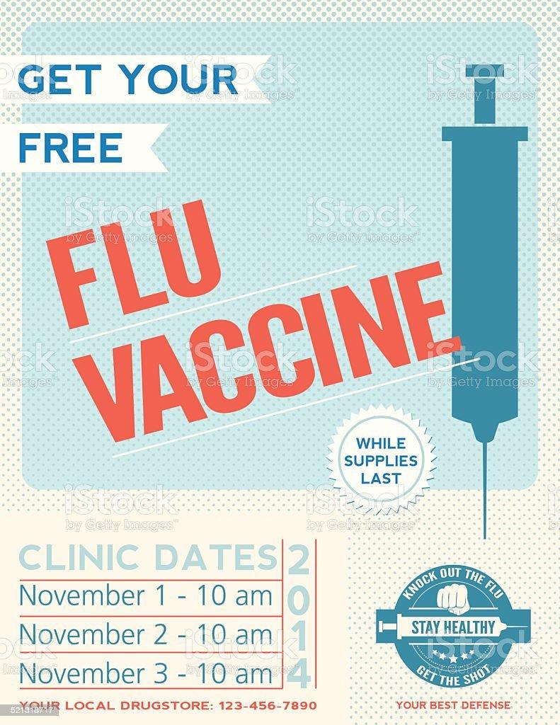 Flu Shot Clinic Poster vector art illustration