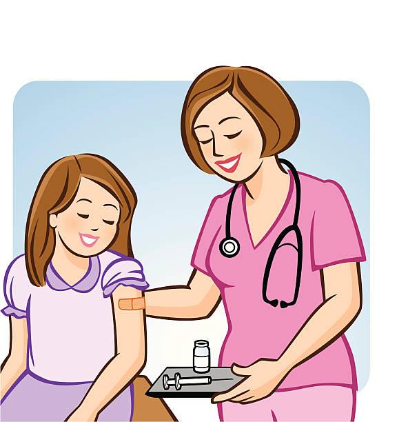 Flu Shot for Kids vector art illustration