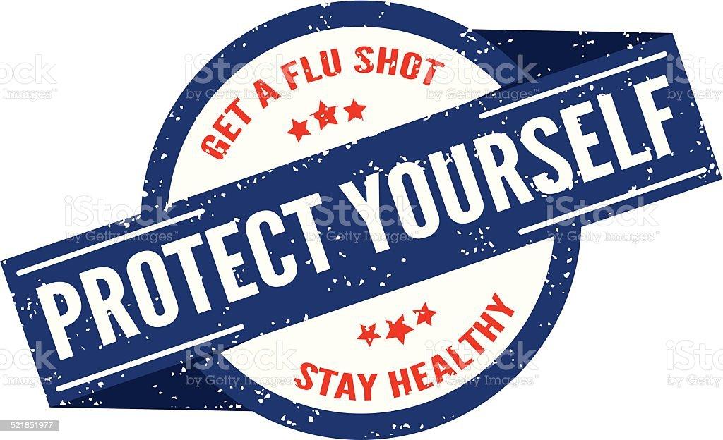 Flu Shot Stamp vector art illustration