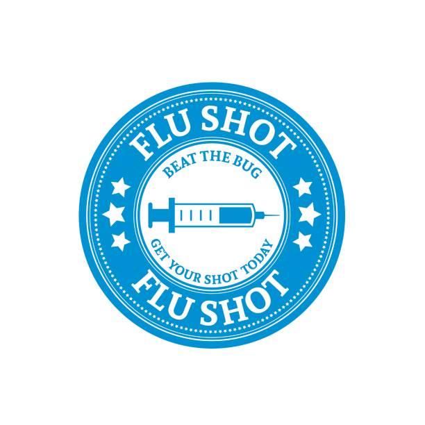 flu shot impfung abzeichen oder symbol - grippeimpfung stock-grafiken, -clipart, -cartoons und -symbole
