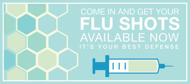 flu shot web-banner - grippeimpfung stock-grafiken, -clipart, -cartoons und -symbole