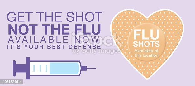 Flu Shot Clinic Website Banner Template. Flat design style colors.