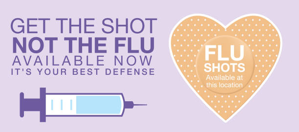 Flu Shot Web Banner Flu Shot Clinic Website Banner Template. Flat design style colors. flu vaccine stock illustrations