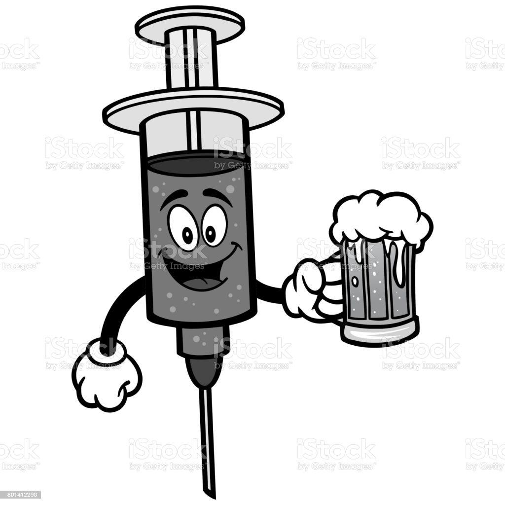 Flu Shot with Beer Illustration vector art illustration