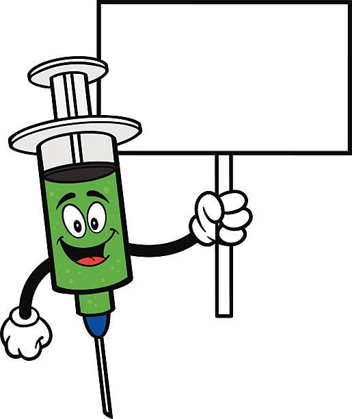 grippe aufnahme mit schild - grippeimpfung stock-grafiken, -clipart, -cartoons und -symbole