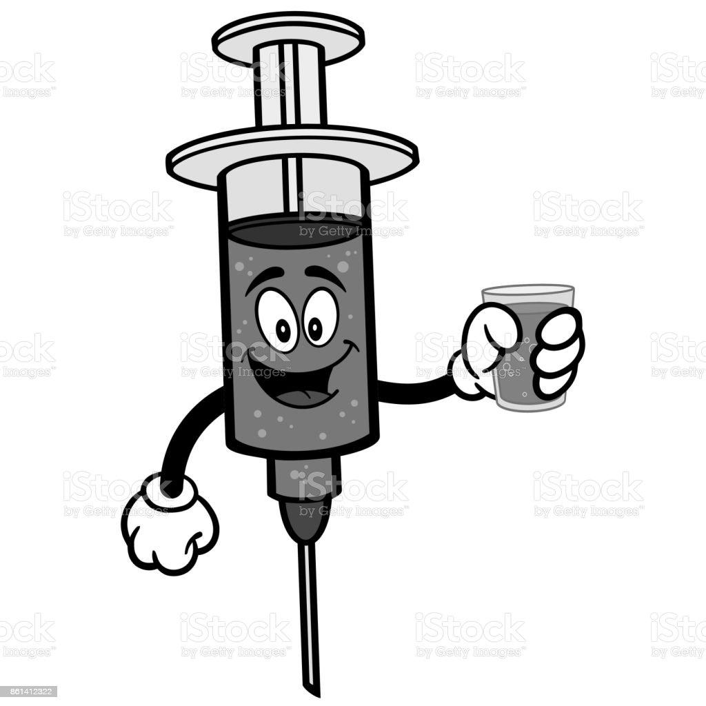 Flu Shot with Water Illustration vector art illustration