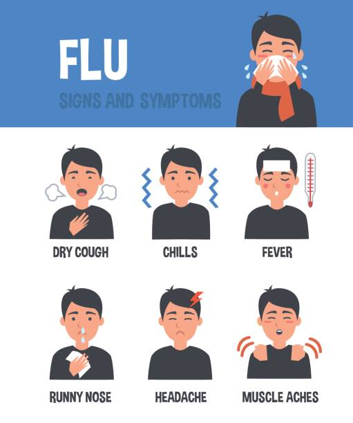 ilustraciones, imágenes clip art, dibujos animados e iconos de stock de síntomas de gripe - flu