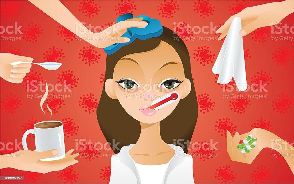 Flu treatment vector art illustration