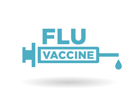 Flu Vaccine Health Icon Badge With Blue Syringe Sign Stock ...