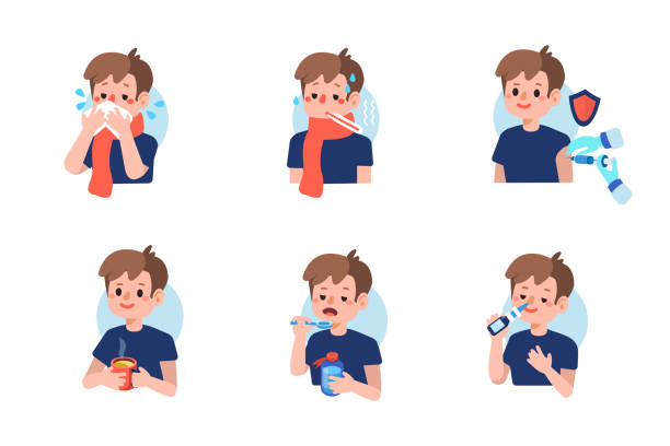 flu Cute boy with  flu disease and treatment.  Flat cartoon vector illustration isolated on white background. fever stock illustrations