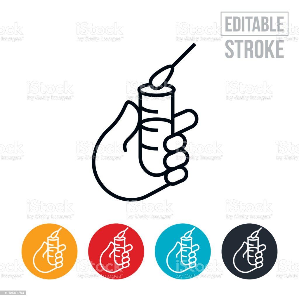 Grippe-Virus-Test Thin Line Icon - Editable Stroke - Lizenzfrei Baumwolltupfer Vektorgrafik