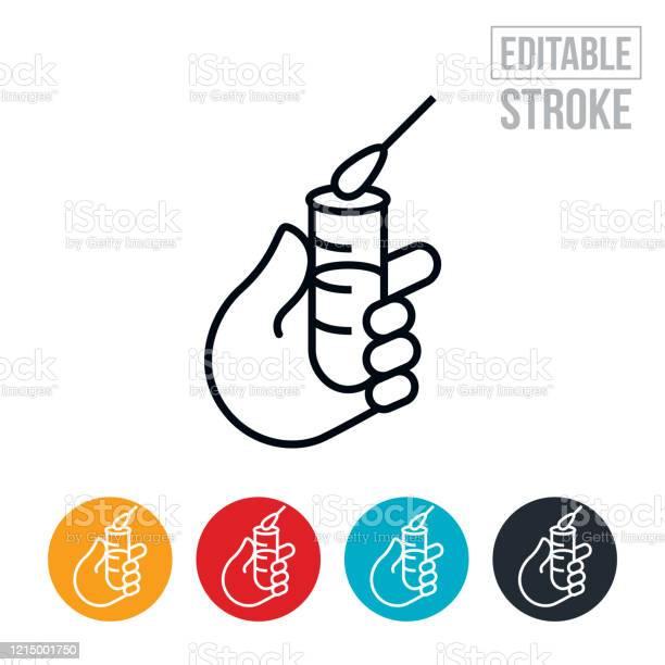Grippevirustest Thin Line Icon Editable Stroke Stock Vektor Art und mehr Bilder von Baumwolltupfer