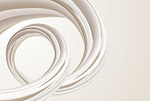 A modern abstract design. A beautiful, soft, off white element twisting and flowing on a beige background.