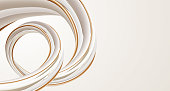 A modern abstract design. A beautiful, soft, off white element  with gold detail twisting and flowing on a beige background.