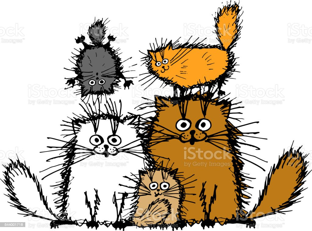 Fluffy cats family, sketch for your design vector art illustration