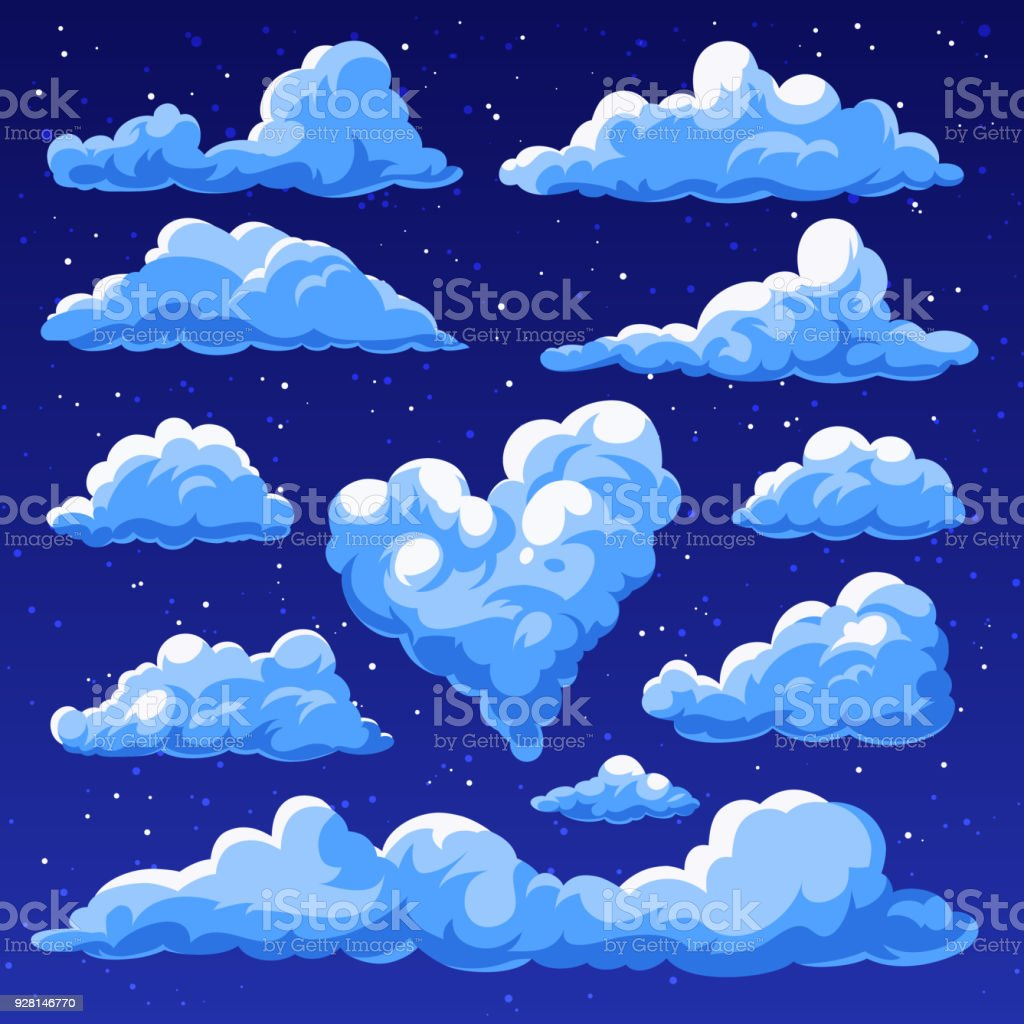 Fluffy clouds in the cartoon style. vector art illustration