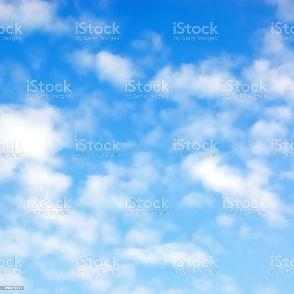 Fluffy clouds vector art illustration