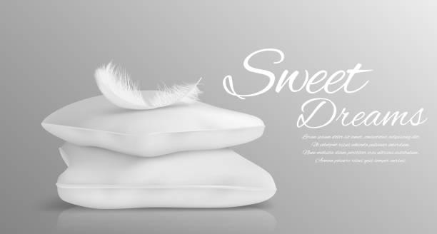 ilustrações de stock, clip art, desenhos animados e ícones de fluffy feather and white pillows isolated in realistic style monochrome vector illustration - pena de pássaro algodão